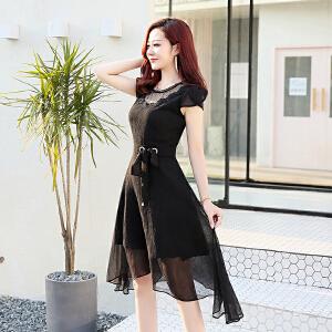 2018新款韩版大码连衣裙两件套女中长款过膝网纱拼接黑色气质套装
