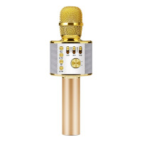 ?k歌手机麦克风神器唱歌吧电脑通用无线蓝牙家用话筒音响一体? 4_土豪金色 +魔音版+5重