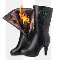 冬季羊毛大棉靴女中筒靴真皮靴高跟女靴子细跟防水台中靴花朵短靴SN4122