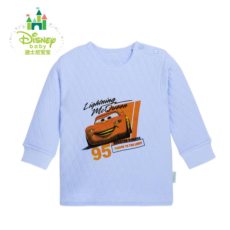 【3件2.6折到手价:18】迪士尼Disney宝宝服饰婴儿冬男女宝宝暖棉上衣婴儿内衣加厚154S677 三层暖棉肩开保暖上衣