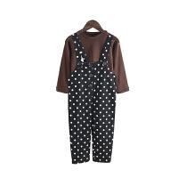 波点女童背带套装秋装2018秋季新款洋气儿童吊带裤两件套时髦女孩衣服yly