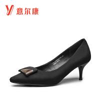 【限时价99.6】意尔康女鞋反绒女士单鞋尖头细高跟浅口单鞋