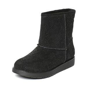 Teenmix/天美意冬专柜同款黑色猪皮女休闲靴(仿毛里)AN741DZ6