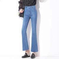 春夏新款浅色修身微喇裤减龄青春牛仔裤韩版长裤气质喇叭裤休闲女 牛仔蓝