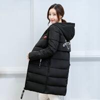 新款棉衣女中长款印花加厚学生冬装外套韩版潮