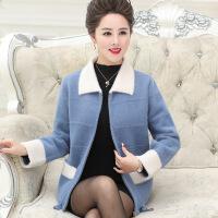 中老年女秋装毛衣开衫气质妈妈春秋夹克外套中年女秋冬季貂绒长袖 蓝色 M(建议95-110斤)