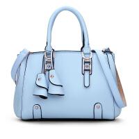 女士包包立体锁扣手提包蝴蝶结女包包 浅蓝色