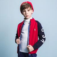 【3件3折:149.7元】暇步士童装冬季新品男童针织外套撞色拼接外套上衣儿童保暖外套