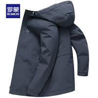 【罗蒙2件1.5折到手价:192】罗蒙中长款风衣男士2020春季新款连帽夹克中青年纯色时尚休闲外套