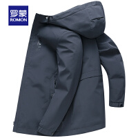 【6.15-6.20预估到手价:155】罗蒙(ROMON)中长款风衣男士2021春季新款连帽夹克中青年纯色时尚休闲外套