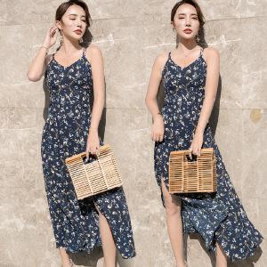 吊带裙夏复古学生韩版冷淡风极简碎花海边度假超仙连衣裙女