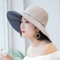 大沿沙滩帽太阳帽子女海边遮阳帽春夏季防晒帽旅游可折叠双面凉帽