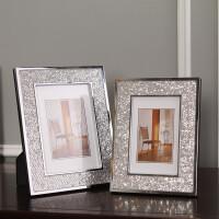 现代简约金属相架创意相框摆件摆台工艺礼品软装饰品摆设亮片相框 灰色