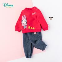 【2件3.5折到手价:90.3】迪士尼Disney童装女童米妮印花套装秋季新品抓绒卫衣+仿牛仔长裤2件套193T938
