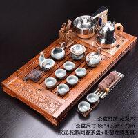 整套功夫茶具陶瓷茶具全自动四合一电热炉花梨木茶盘套装家用 18件