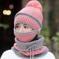 帽子女冬天加绒加厚骑车防风帽啊保暖护耳帽围脖冬季防寒毛线帽女 (加绒款)