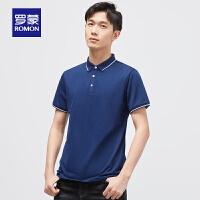 罗蒙(ROMON)短袖T恤男2021夏季新款时尚休闲简约POLO衫中青年商务百搭t恤