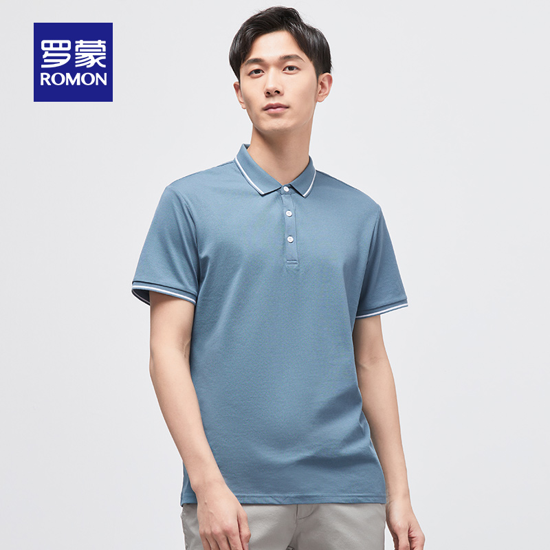 罗蒙短袖T恤男2020夏季新款时尚休闲简约POLO衫中青年商务百搭t恤