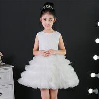 公主裙女童婚纱儿童礼服蓬蓬裙白色钢琴演出服小主持人花童夏新款34