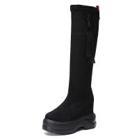 内增高长筒靴女2018冬季新款百搭韩版磨砂厚底过膝长靴高筒女靴子真皮