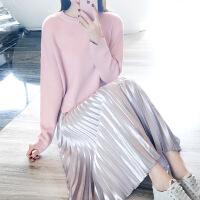 №【2019新款】气质美女穿的2018新款毛衣加配裙子套装秋冬两件套时尚甜美可爱打底气质 显瘦套裙