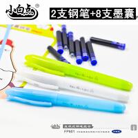 小白点文具 可擦换囊钢笔套装FP601颜色随机发货 2支直液式钢笔+8支蓝色墨囊/学生学习办公用品练字书法写作业考试