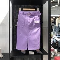 2018春夏季韩版女装红白色牛仔裙子修身显瘦高腰一步半身包臀中裙