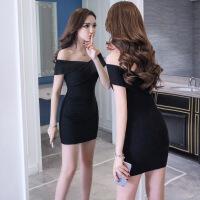8811春装2018新款女时尚修身显瘦打底裙性感包臀针织连衣裙夏 黑色