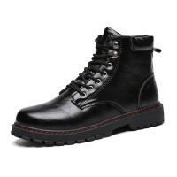 马丁靴男短靴内增高工装黑色皮靴子男士中帮户外防水高帮鞋秋
