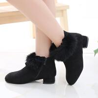 儿童鞋女童靴子冬季2018新款韩版马丁靴女孩皮靴加绒公主短靴棉鞋