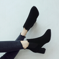 ZHR2018秋冬季新款韩版裸靴短筒切尔西靴粗跟短靴高跟靴真皮女靴