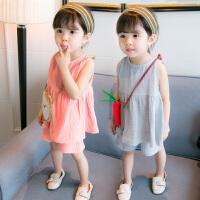 新款女童夏装婴儿童装女宝宝洋气夏季背心短裤时髦套装