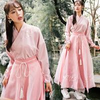 秋冬新款女装汉元素改良汉服绣花交领襦裙少女系粉色裙子古装套装 两件套