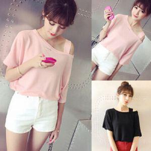 夏季新款日系女装露肩性感纯色宽松T恤短袖上衣