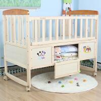 婴儿床实木无漆宝宝床摇篮床可变书桌bb床童床游戏床带蚊帐