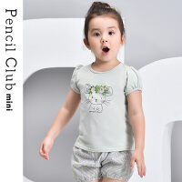 【秒杀价:34.5元】铅笔俱乐部童装2021夏装新款女童休闲短袖儿童T恤小童泡泡袖上衣