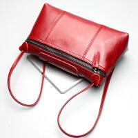新款斜跨包箱包女用真皮女包牛皮单肩包女包 酒红色