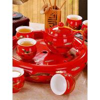 【支持礼品卡】结婚茶具套装家用中式婚庆整套景德镇陶瓷大红色功夫茶杯茶壶茶盘5ao