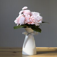 ��意小清新白色陶瓷插花瓶�W式客�d水培�b�家居�[件��s�F代田�@