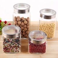 透明玻璃瓶子家用厨房食品瓜子密封罐圆形糖罐储物罐大号带盖有。