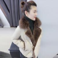 欧洲站冬装女2018新款欧货潮羊羔毛大毛领时尚短款修身轻薄羽绒服