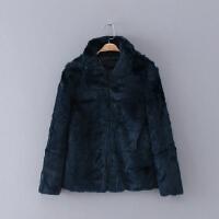 191 女装 冬季新款20 翻领纯色长袖女式毛绒外套保暖皮草