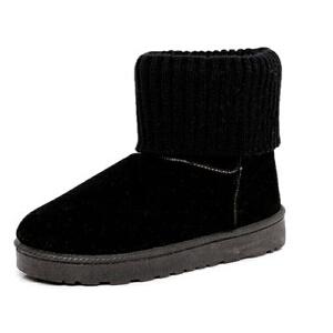 WARORWAR新品YM135-707冬季简约磨砂绒平底舒适女士短靴雪地靴
