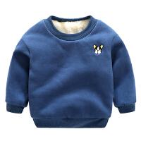 男童卫衣加绒韩版儿童保暖加厚宝宝上衣秋冬款女童打底衫 藏青色 小狗