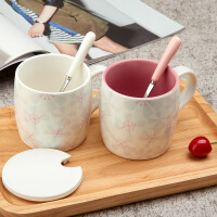樱花陶瓷带盖勺马克杯简约 情侣杯子牛奶创意早餐咖啡杯办公室水杯