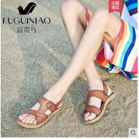 富贵鸟夏季时尚男士凉鞋真皮休闲沙滩鞋防滑拖鞋男夏天潮两用凉拖