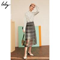 【25折到手价:274.75元】 Lily春新款女装气质斜纹拼接网纱收腰长款连衣裙119120C7233