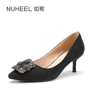 如熙2017年新款女士单鞋 闪耀水钻装饰 时尚尖头设计女鞋