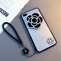 XR山茶花苹果6s手机壳软7plus硅胶套iphone8女款挂绳镜子壳Xs Max