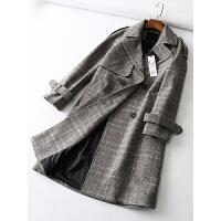 女装 20冬装新款韩版格子气质中长款羊mao风衣外套毛呢大衣